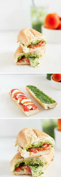 idea how to make a caprese sandwich, easy picnic recipe with pesto, mozzarella, tomatoes and baguette, picnic beach - ArchZine FR - Pctr UP Veggie Recipes, Lunch Recipes, Vegetarian Recipes, Cooking Recipes, Baguette Sandwich, Food Porn, Good Food, Yummy Food, Salty Foods