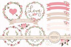 Wedding Floral Clipart & Vectors by Amanda Ilkov on Creative Market
