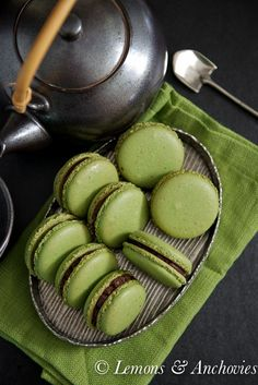 Matcha Green Tea Macarons with Chocolate Ganache