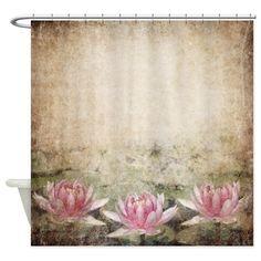 Pink Lotus Grunge Shower Curtain by FantasyArtDesigns - CafePress Zen Bathroom, White Bathroom, Small Bathroom, Bathroom Ideas, Black Curtains, Pink Lotus, Fabric Shower Curtains, Graphic Patterns, Brown And Grey