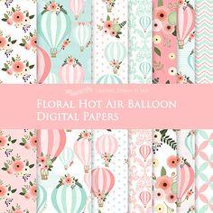 Floral Hot Air Balloon / Pink and Mint Hot Air Balloon Digital