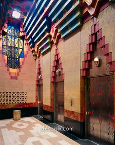 Elevators & Stained Glass Window, Guardian Bldg., Detroit, Michigan
