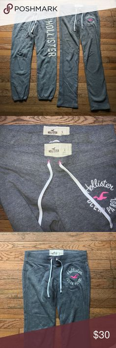 Bundle! Size S Hollister sweatpants 2️⃣ Hollister sweatpants! Both size SMALL,- gray, and have a pull through draw string. The flair pair is brand new and has embroidered white and pink lettering on the left side. It has no flaws, stains, and is smoke free. The other one one is a capri with felt/block lettering. it has one tiny stain on the bottom right leg that is shown in the picture! Other than that there are no other flaws.     ⛄️❄️Great bundle going into the fall and winter months:)))…