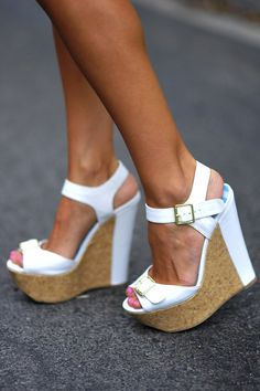 Wall Street Wedges: White Leather
