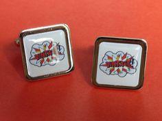 Pop Art.... Vintage Cufflinks by mixedupdolly on Etsy (Accessories, Cuff Links, designer, chrome, mixed up dolly, design, pop art, retro, vintage, bang, lichtenstein)