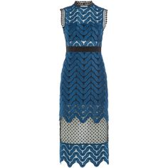Self-Portrait Scalloped Lace Midi Dress ($325) ❤ liked on Polyvore featuring dresses, blue, high neck dress, blue sequin dress, sequin midi dress, lace midi dress y slimming cocktail dresses