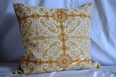SIngle 24 by 24 inch Throw Pillow Cover Mustard by GosiaFigura, $55.00