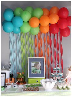 Cute idea for backdrop at a children's party. Or switch the colors for a high school or college graduation party, baby or wedding shower. Could have a lot of fun. Secure balloons together with ribbon and make sure you create a circular effect with them.