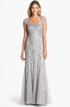 Adrianna+Papell+Embellished+Mesh+Mermaid+Gown+available+at+#Nordstrom