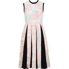House of Holland - Palm Leaf Jersey-trimmed Jacquard And Fil Coupé... (13.950 RUB) ❤ liked on Polyvore featuring dresses, pastel pink, circle skirt, pink pleated dress, jacquard dress, palm print dress and flared pleated skirt