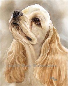 COCKER SPANIEL Dog 11x15 Giclee Watercolor Print