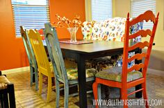 Loving the mismatched chair look with the farmhouse table. I need to find 6-8 chairs...maybe I can find some at a Thrift Store/Garage sale....then paint them!! If anyone knows of any great chairs, let me know!!