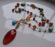 Carnelian Pendant Carnelian Necklace Faceted Turquoise by lscaturo