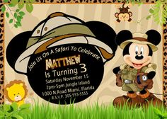 SAFARI MICKEY BIRTHDAY Party Mickey Mouse invitationSafari