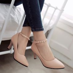 aa1af86b1958 Pearl Ankle Straps Women Pumps High Heels Dress Shoes