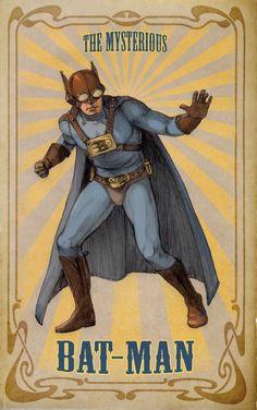the mysterious batman. Cool Steampunk-y Turn of the century Batman. Comic Book Characters, Comic Books Art, Comic Art, Batman Et Superman, Batman Art, Batman Poster, Batman Wallpaper, Steampunk, Illustration Batman