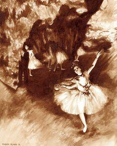 coffee art, Prima Ballerina, painted using only coffee, Degas, ballet, ballerina, print, latte, dancer, espresso
