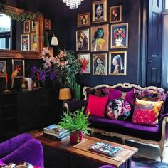 I absolutely love this mix of vivid colors and jewel tones, it feels like a spunky carnival! Surreal Maximalist Magical Decor Edgy Dark and Rainbow Colorful Bookshelf and velvet sofa royalty aesthetic Dark Interiors, Colorful Interiors, Casa Retro, Purple Couch, Green Sofa, Lobby Design, Eclectic Decor, My New Room, Nail Salon Design