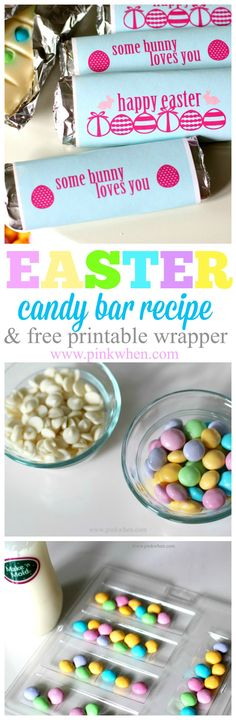 Easter themed candy bar recipe and free printable wrappers!