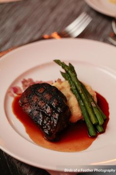Oven Roasted Filet Mignon with Yukon Whipped Gold Potato Puree and Asparagus with Cracked Black Pepper Demi-Glace  |  A Dinner at Belmont Country Club  |  Birds of a Feather Photography