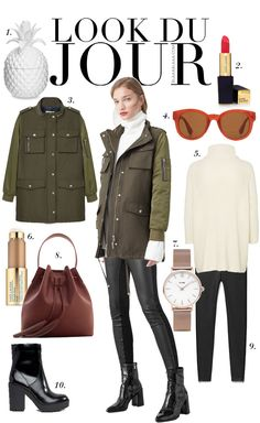 Look Du Jour: ParkDA!!! Winter Mode Outfits, Winter Fashion Outfits, Autumn Winter Fashion, Fall Outfits, Army Jacket Outfits, Green Jacket Outfit, Casual Fall, Casual Chic, Mein Style