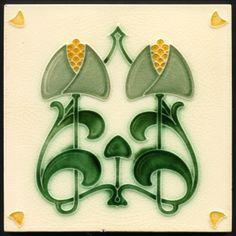 Art Nouveau Majolica Tile. Date: 1905 (circa)