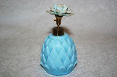 Vintage Blue Glass Pineapple perfume bottle IRICE.....found it on ebay