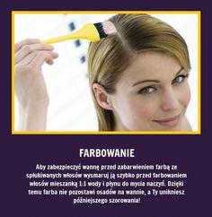 Aby zabezpieczyć wannę przed zabarwieniem farbą ze spłukiwanych włosów...