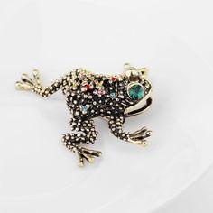 Retro-Rhinestone-Frog-Brooch-Pin-Gold