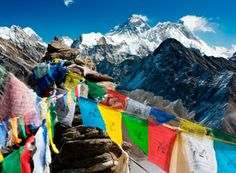 Mount Everest flags. A way to add color to all the white and blue decorations!