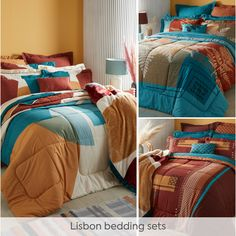 With its colour palette and designs inspired by the warm hues of autumn, the specially crafted and coordinated Lisbon collection is the easiest way to breathe new life into your bedroom. Plus, complete reversibility means a fresh new look whenever you like! Complete the collection with a reversible curtain set and matching scatters – all expertly coordinated to enhance Lisbon. Curtain Sets, Lisbon, New Life, Bedding Sets, Breathe, Comforters, Palette, Autumn, Curtains
