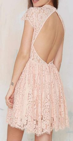 Pink Lace Open Back Dress