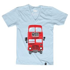 """Size Charts The Stately Type London Red Double Decker Bus t-shirt features a hand-drawn illustration of one of London's iconic red double decker buses with a hand-lettered """"Hyde Park"""" destination sign"""