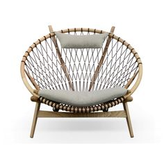 Replica Hans Wegner Circle Chair- Light Grey with Natural Ashwood