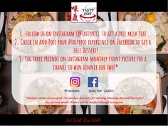 Come and have some soup? Join our new promotion and win some freebies! 1 Follow is on Instagram (@tastypot) to get a free milk tea! 2 Check in and post your #tastypot experience on Facebook to get a free dessert! 3 Tag three friends on Instagram monthly event picture for a chance to win dinner for two!  What are you waiting for😋?