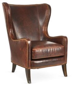 Dempsey Leather Wing Chair, Bourbon Total dude chair and I love it.