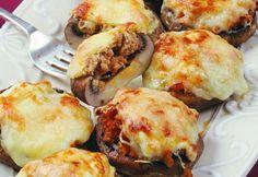 Mushrooms Stuffed in the Italian Meat Recipes, Vegetarian Recipes, Cooking Recipes, Italian Appetizers, Appetizer Recipes, Hungarian Recipes, Italian Recipes, Healthy Breakfast Potatoes, Food Porn