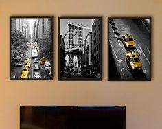 New York Photography, NYC art, yellow cab, personalized home decor project, bathroom wall art, interior design-empire state manhattan bridge on Etsy, $153.00