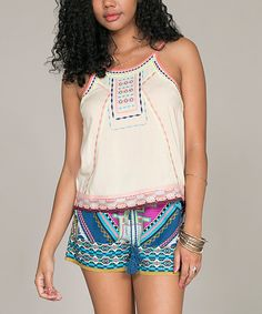 Look at this Cream Embroidered Tank on #zulily today!