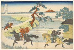 Katsushika Hokusai Japanese, 1760-1849 Nishimuraya Yohachi, publisher Japanese Sekiya village on the Sumida River (Sumidagawa sekiya no sato), Thirty-six views of Mount Fuji, ca. 1829-1833 Polychrome wood block print/RISD Museum