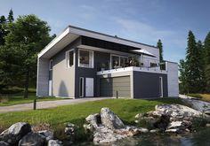 Mynte er en moderne funkisbolig med praktisk utleiedel som gir en gunstig inntektskilde. Huset har en sprek fasade med både fasadeplater og kledning. I overetasjen er det høyt under taket og store vindusflater, som bidrar til herlig romfølelse. Dette er en innholdsrik bolig med mange rom. Den arealeffektive utleiedelen med to soverom kan enkelt integreres i hoveddelen av boligen hvis ønskelig.  Høyt under taket Romslig utleiedel som kan integreres i boligen Foreldresoverom med walk-in closet Garage Doors, Shed, Outdoor Structures, Outdoor Decor, Home Decor, Modern, Decoration Home, Room Decor, Home Interior Design