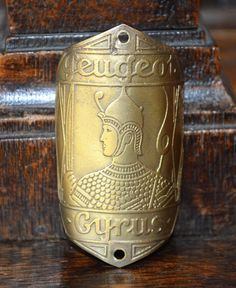 Antique Brass French Bicycle Headbadge Peugeot by VintageFleaFinds, $75.00