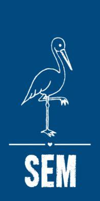 Blauw geboortekaartje met ooievaar