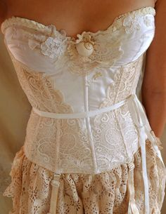 all recycled material/ $35.00, on etsy @jadadreaming/ beautiful lace and corset so vintage.