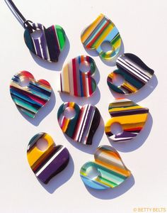 My upcycled surfboard resin hearts