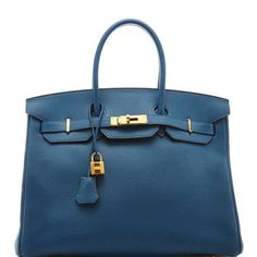 Hermes 35Cm Blue De Galice Togo Leather Birkin by Heritage Auctions Special Collection - Moda Operandi