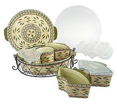 "Temp-tations Old World is the absolute best serving and bakeware. (QVC has the best prices).   This set is so versital. We use it for ""Taco-Tuesday"" all the time."