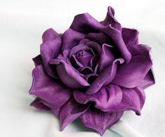 Violet  Leather Rose Flower Brooch/Hair clip