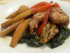 Paprika En La Cocina: Pollo con mango y espinacas al estilo oriental
