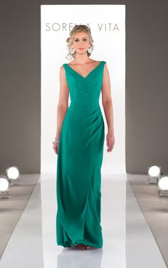 Style: 8576 Stunning floor-length gown in Chiffon. Features flattering asymmetrical ruching and a v-neckline.